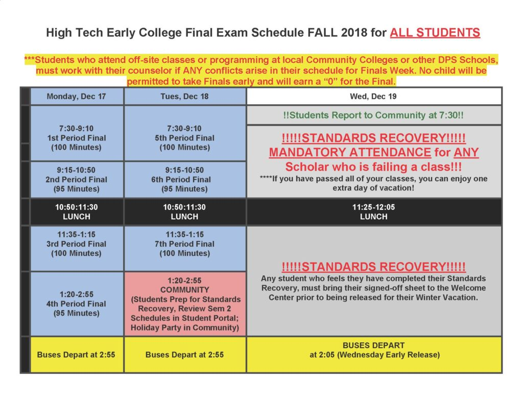 Fall Final Exam Schedule | Northeast Early College